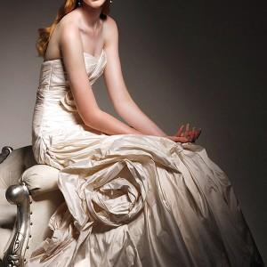 Martina Liana wedding gown 2011 collection - strapless Silk Taffeta Gown,  Detachable Sash Included
