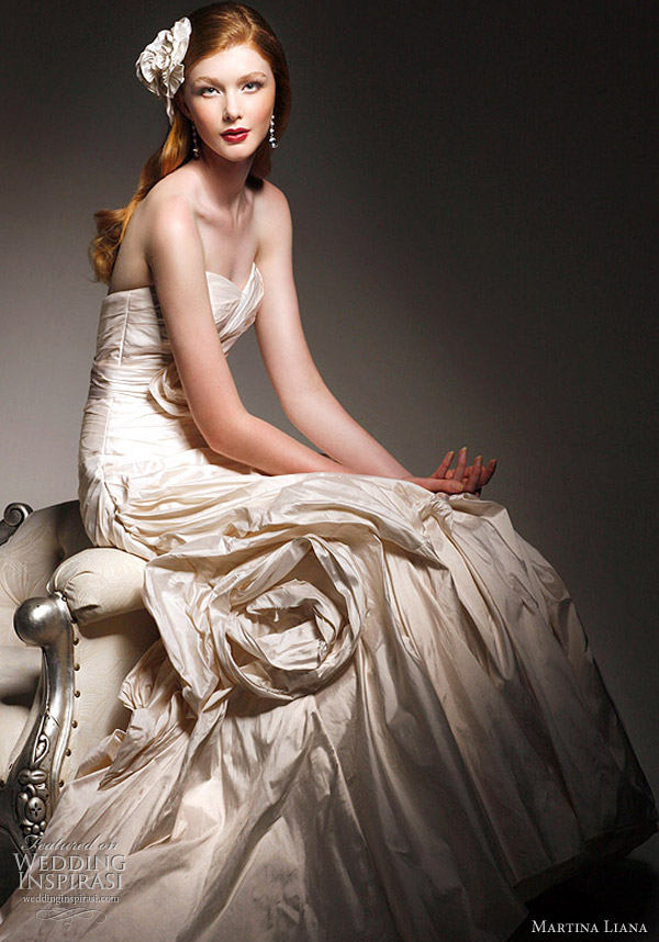 Martina Liana wedding gown 2011 collection - strapless Silk Taffeta Gown, also available in Dupioni, Soft Italian Metallic, Silk Satin, Detachable Sash Included