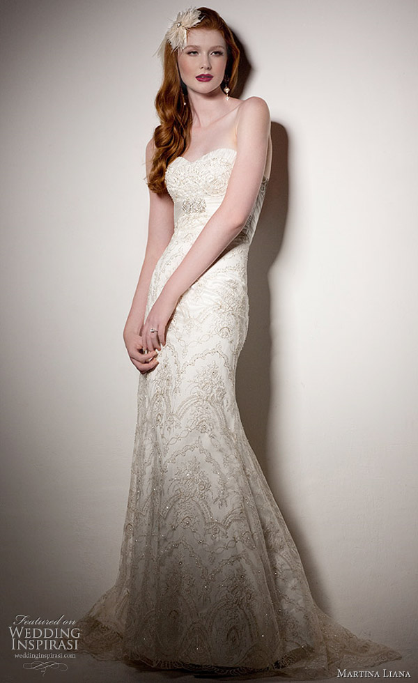 Martina Liana wedding gown 2011 collection - lace gown with Parisian silk chiffon accent