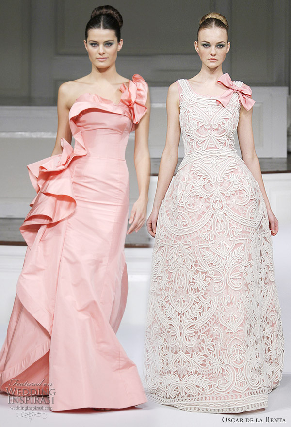 Oscar de la Renta Spring 2011 - salmon pink faille one shoulder gown with enlarged ruffle detail, pink ivory scoop neck threadwork embroidered gown with strap bow detail