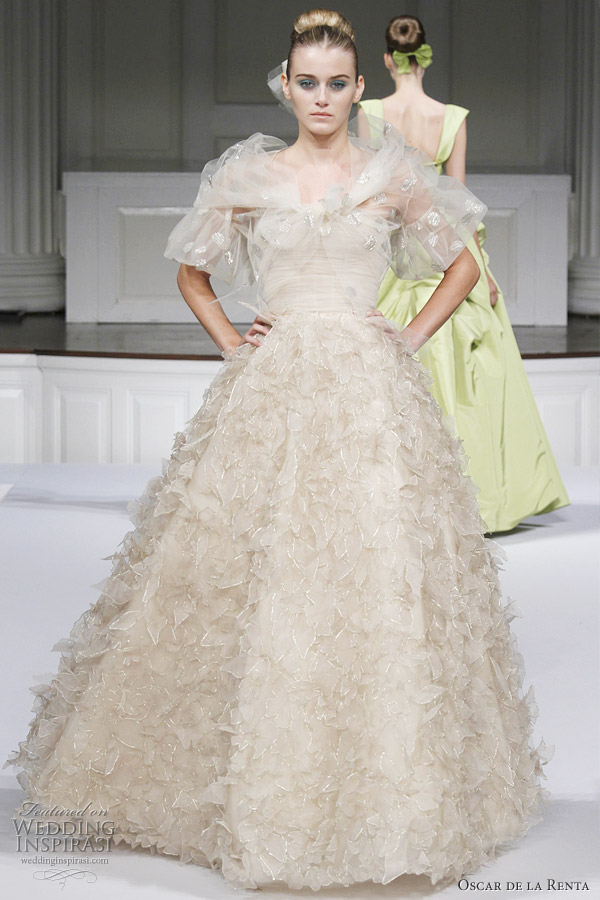 Oscar de la Renta Spring/Summer 2011 - platine embroidered organza strapless floral gown with ruffle organza full skirt