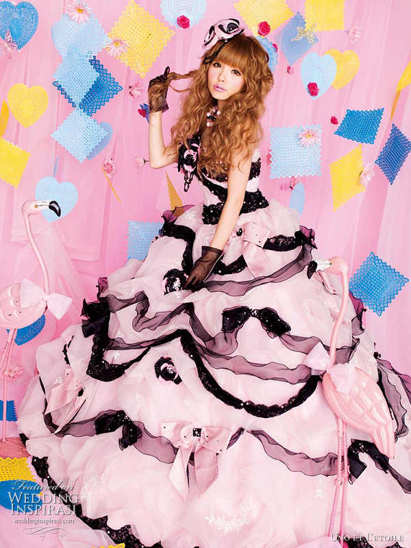 Black and baby pink wedding gown by Japanese brand Uno et L'etoile - for cute princess bride