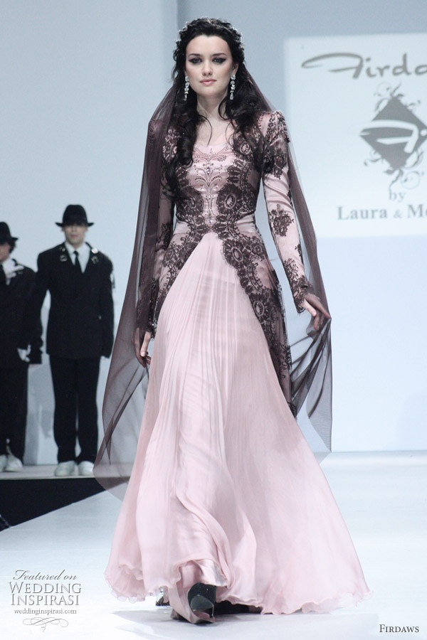 Pink kebaya style wedding dress with black lace bridal coat