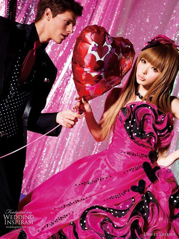 Fuschia wedding dress with black heart accents