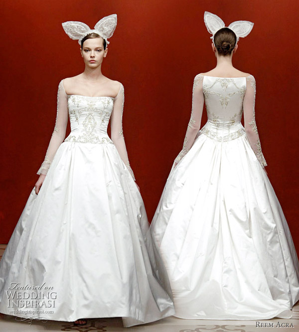 Reem Acra wedding dresses 2011 fall bridal collection - rabbit ear veil