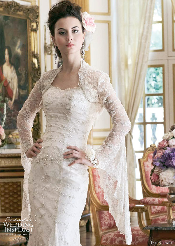 Ian Stuart 2011 wedding dress - Japonica bohemian gown worn with bolero jacket with fishtail sleeves
