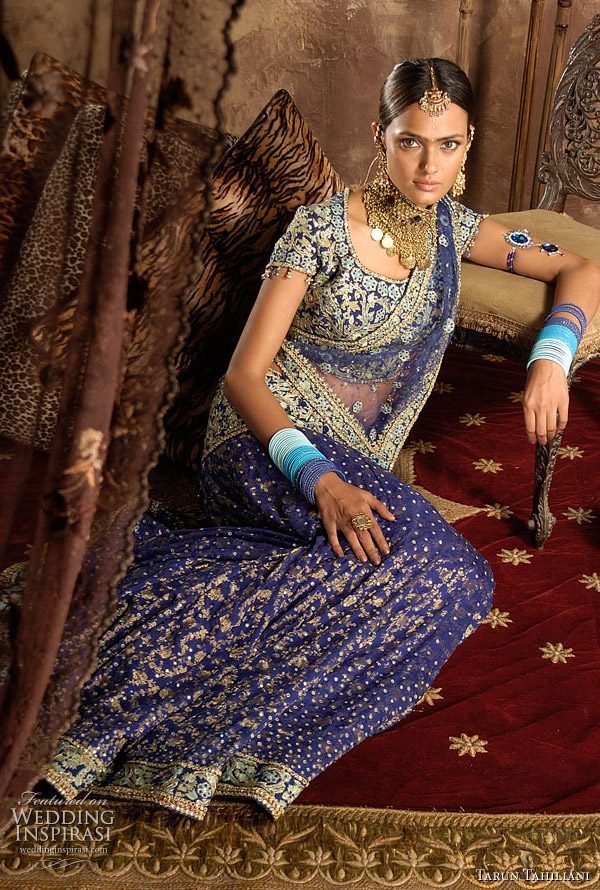 Indian wedding dress - bridal lehenga or ghagra choli in blue silk georgettte brocade