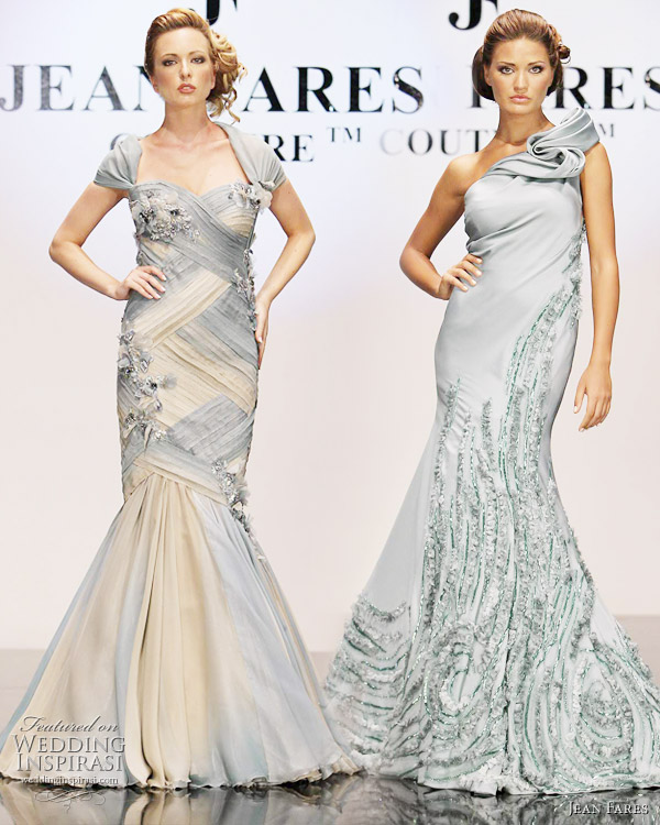 Jean Fares couture fall/winter 2010-2011 - baby blue evening gowns, with straps and one shoulder