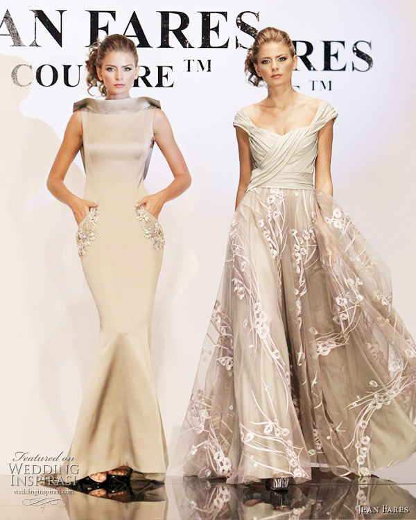 Jean Fares couture fall/winter 2010-2011 - beige and neutral evening gowns, sleek mermaid style and a-line with straps