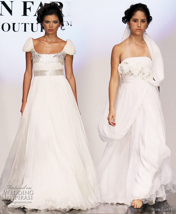Jean Fares white wedding dress alternatives, evening gowns from the Fall/Winter 2010-2011 couture collection