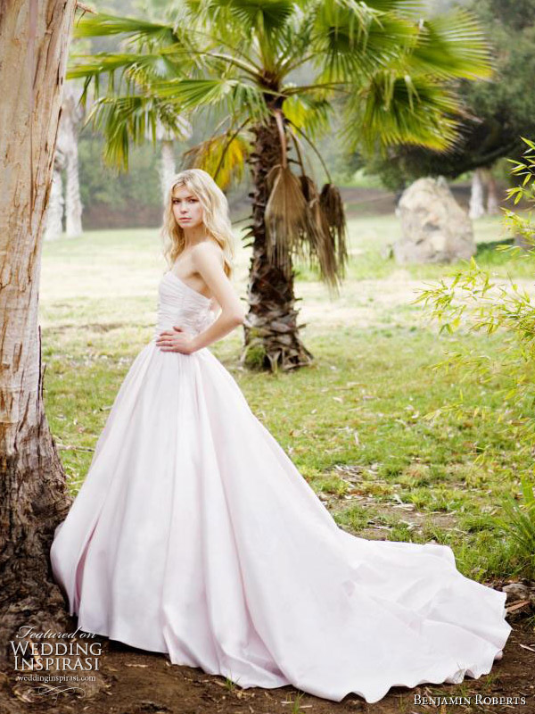 Benjamin Roberts wedding dresses 2011 - light pink silk ball gown with plain full skirt