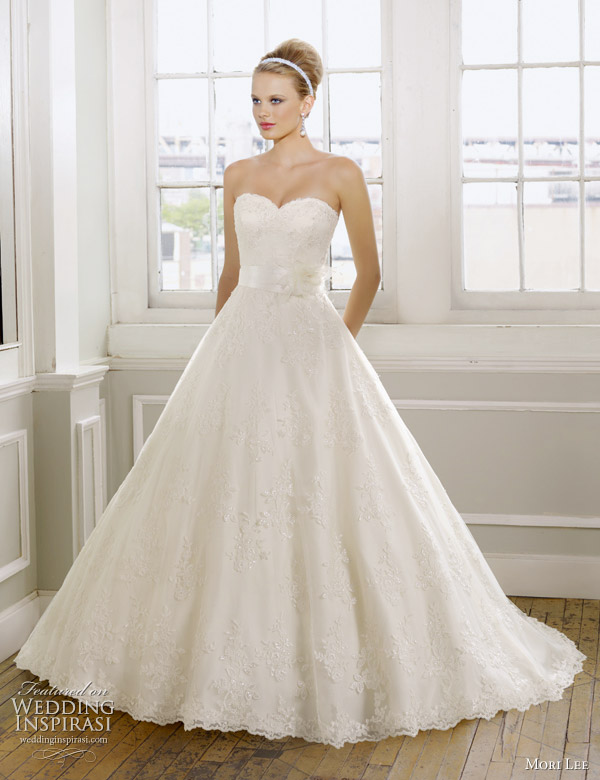 Mori Lee Spring 2017 Wedding Dress Embroidered Lace On Net Waist Sash With Flower