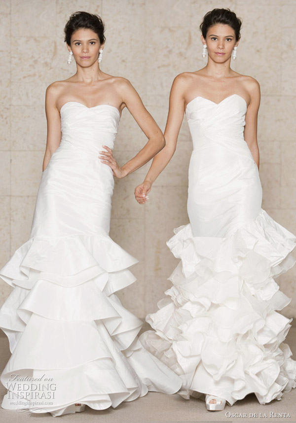 Oscar de la Renta Bridal wedding gowns 2011 Fall/Winter collection - Silk taffeta strapless sweetheart gown with tiered ruffle train, Silk taffeta and silk organza strapless gown with tiered ruffle train