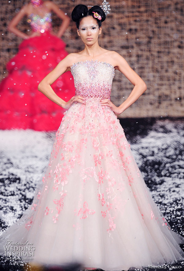 Pink wedding dress from Fall/Winter 2011 haute couture collection by Filipino designer Michael Cinco