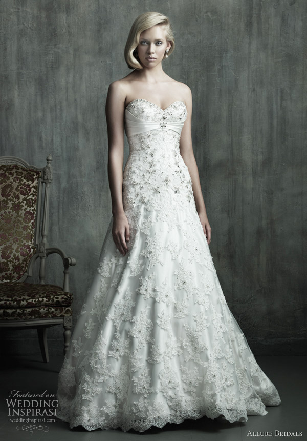 Allure bridals couture wedding dress 2011 Fit and flare gown with layers of