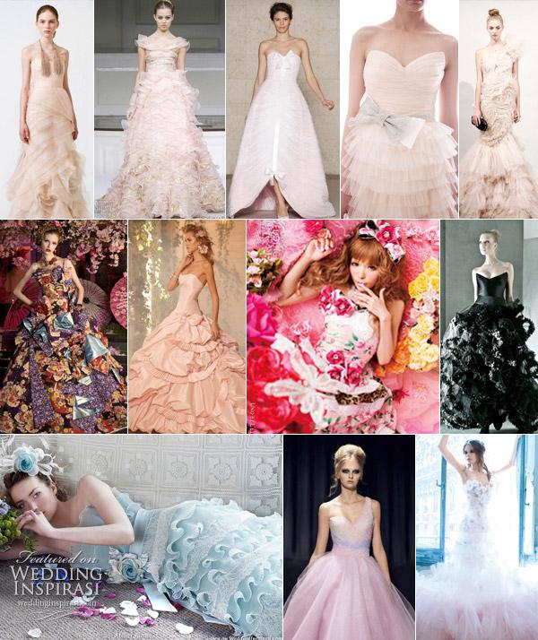 Color wedding gowns peach, pink, black, rose, blue, purple