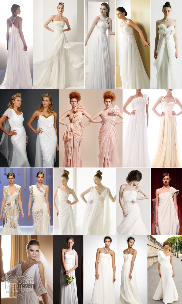 Drape wedding dresses grecian style bridal gown grecian style wedding dress