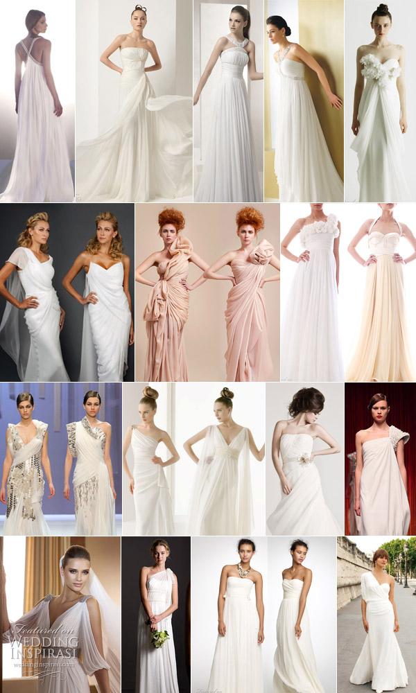 Drape wedding dresses grecian style bridal gown