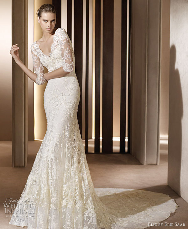 Elegant Auriga lace gown with elbowlength sleeves Elie Saab wedding