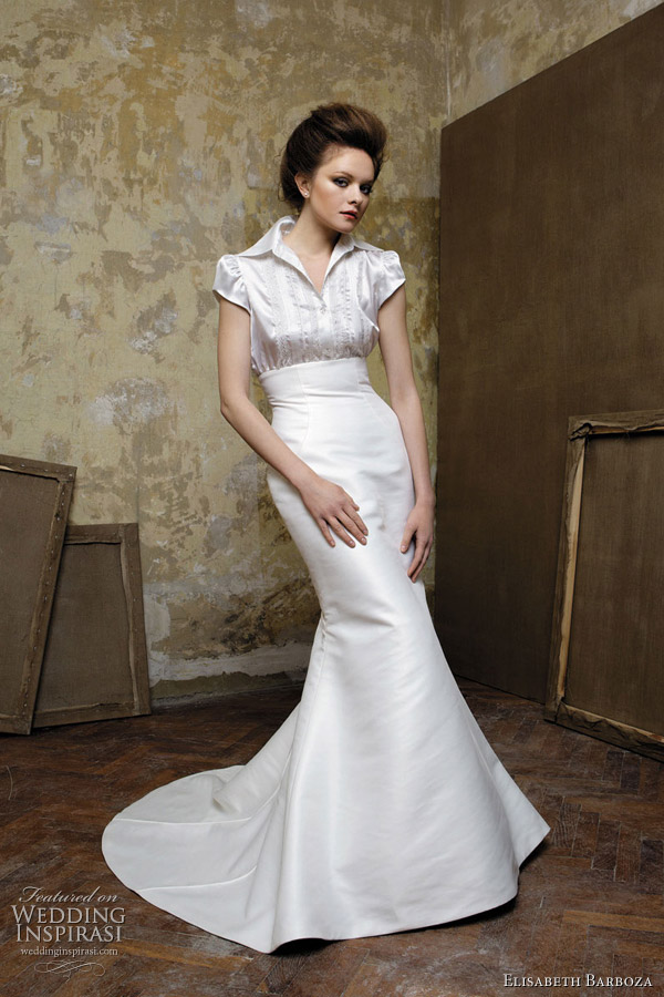 Wedding gown with collar and sleeves by Elizabeth Barboza for Pronuptia 2011 bridal collection