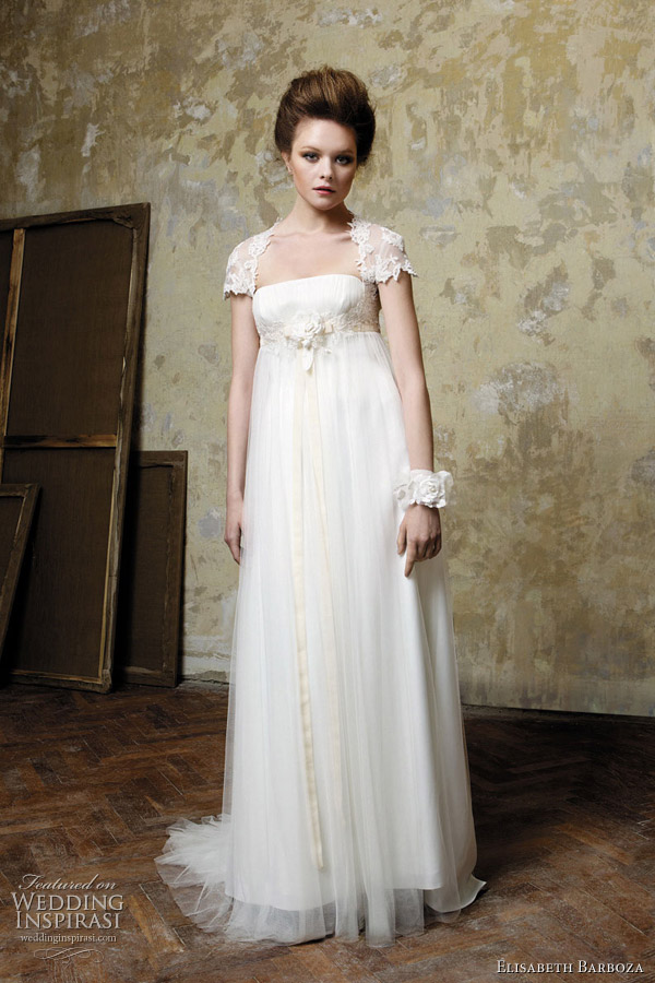 2011 column or sheath wedding gowns by Elizabeth Barboza, Pronuptia