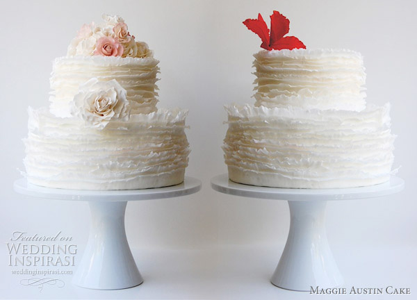 Maggie Austin cake - Rose Frill and Orchid frill wedding cakes