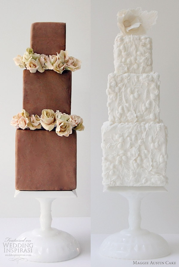 Maggie Austin Cake - Three Boxes of Chocolate and Bas Relief white wedding cake