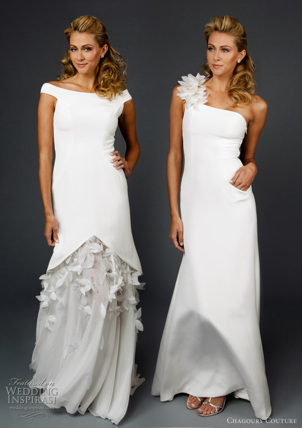Offshoulder wedding dress and oneshoulder wedding gown by Chagoury Couture