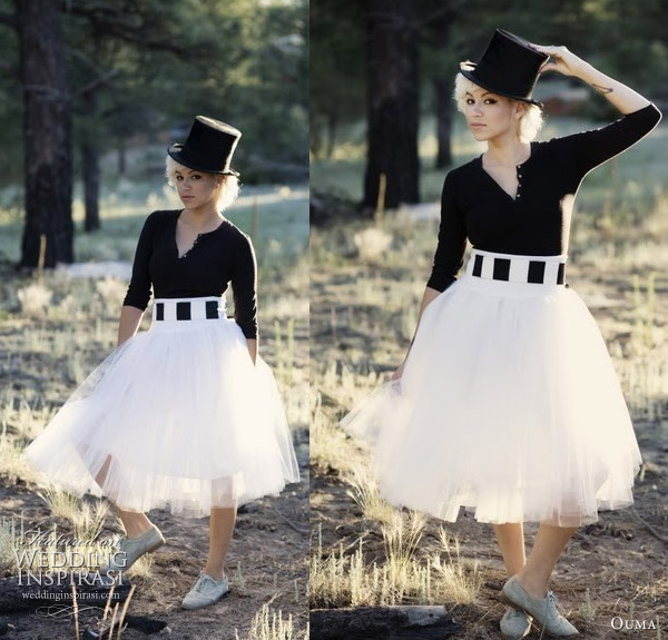 Ouma tulle skirt - Black and white tulle wedding dress worn with top hat