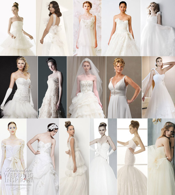 Romantic wedding gowns - pretty, feminine bridal dresses with floral appliques, layers of tulle