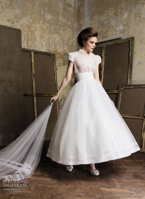 Tea length wedding dresses with circle skirt by Elizabeth Barboza for Pronuptia 2011 bridal collection