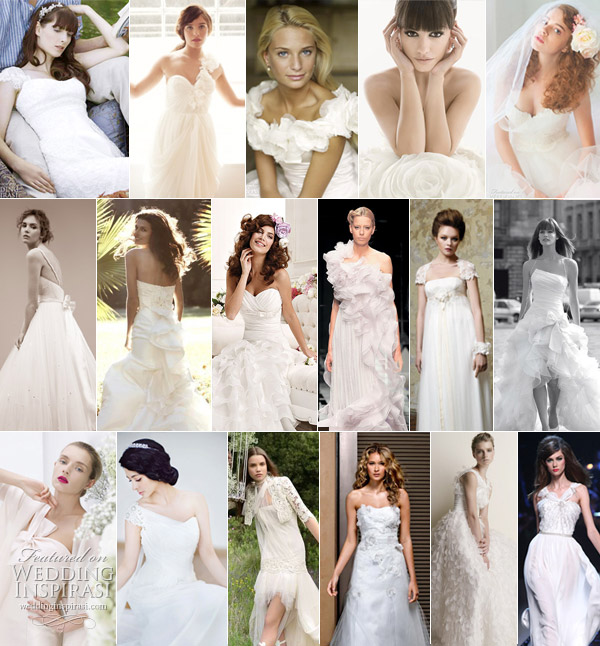 Romantic wedding gowns - pretty, feminine bridal dresses with ruffles, tiers and lace