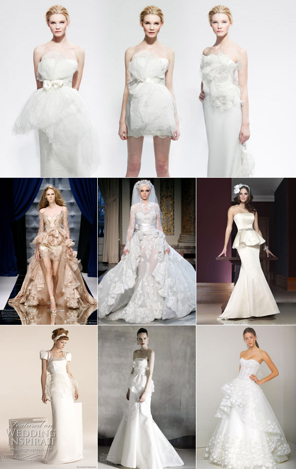 Wedding Dresses with Peplum Row 1 Marchesa Bridal Row 2 Zuhair Murad