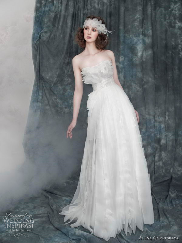 2011 Alena Goretskaya wedding dress - Amelia strapless wedding gown with beaded and crystal detailing