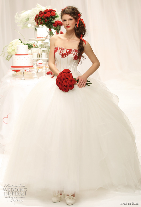 2011 ball gown wedding dress with red accents by Emé di Emé