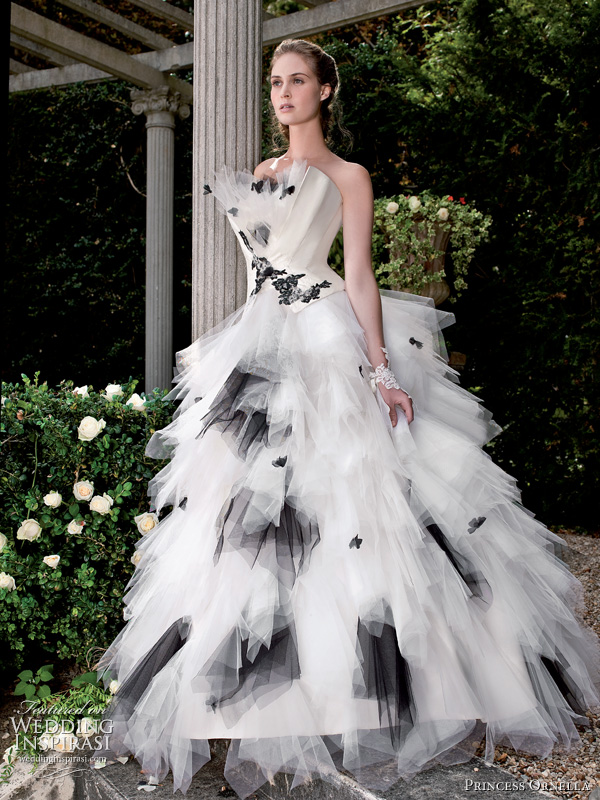 2011 black and white wedding dress by Princess Ornella