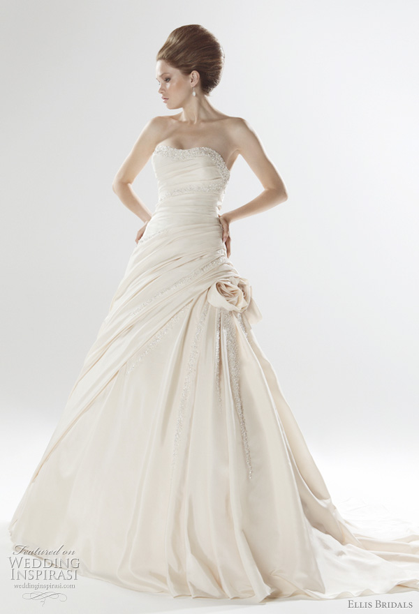 2011 color wedding dress from Ellis Bridals UK - pleated taffeta gown with crystal embellished and detachable twisted flowers