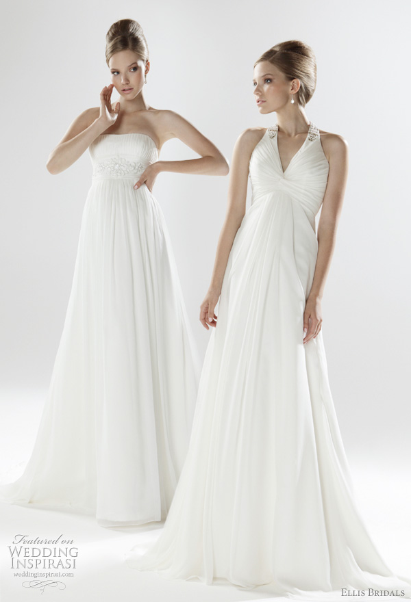 2011 Empire wedding dresses from Ellis Bridals UK - strapless pleated crinkle chiffon gown with contemporary crystal beaded empire line; Art Deco inspired embellished halterneck gown in pleated chiffon with button back detail