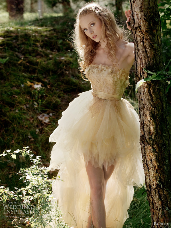 Forest Dreams wedding dress from 2011 Papilio bridal collection, Russia - Flare long to short petal skirt gown in light yellow or cream