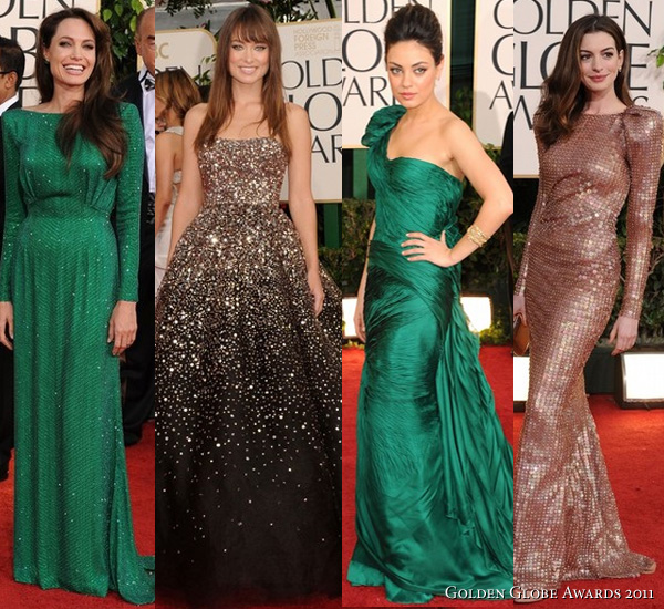 2011 Golden Globe Awards - Angelina Jolie in Atelier Versace emerald long sleeve gown, Olivia Wilde in Marchesa dark chocolate sequined ball gown, Mila Kunis in Vera Wang deep emerald one shoulder gown, Anne Hathaway in Armani Prive copper backless long sleeve gown