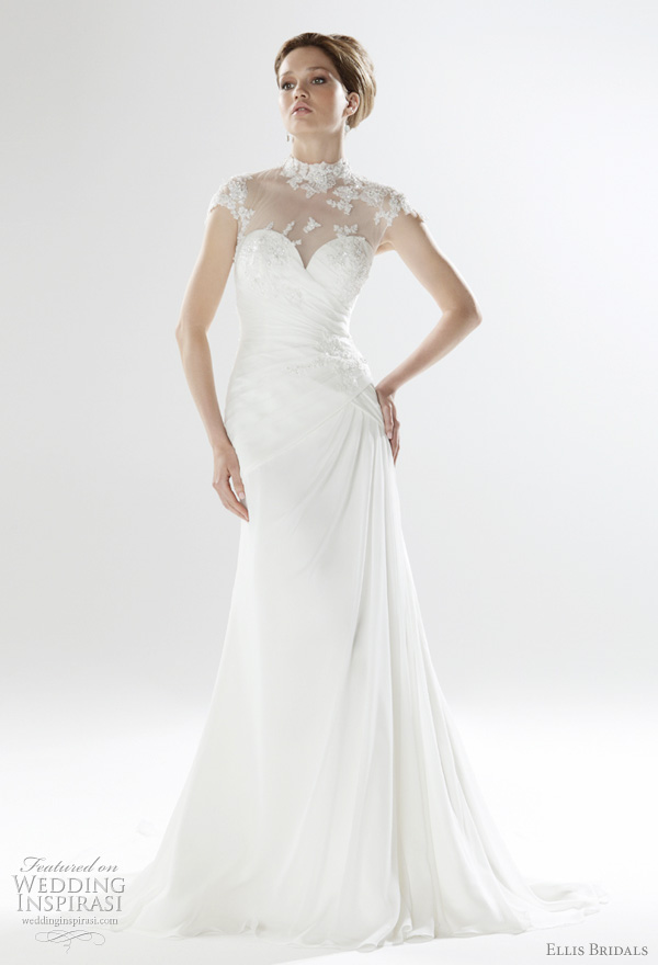 2011 Ellish Bridals UK wedding gowns - Embellished lace applique a2011 Ellis Bridals UK wedding gowns - Embellished lace applique and chiffon gown with sheer neckline and button back