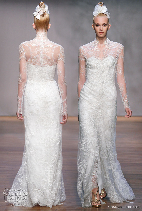 Monique Lhuillier Fall 2011 wedding dress: Cheyenne - ivory/gold metallic chantilly lace strapless corset bodice sheath gown, worn with ivory/gold metallic chantilly lace long sleeve coat ala kebaya