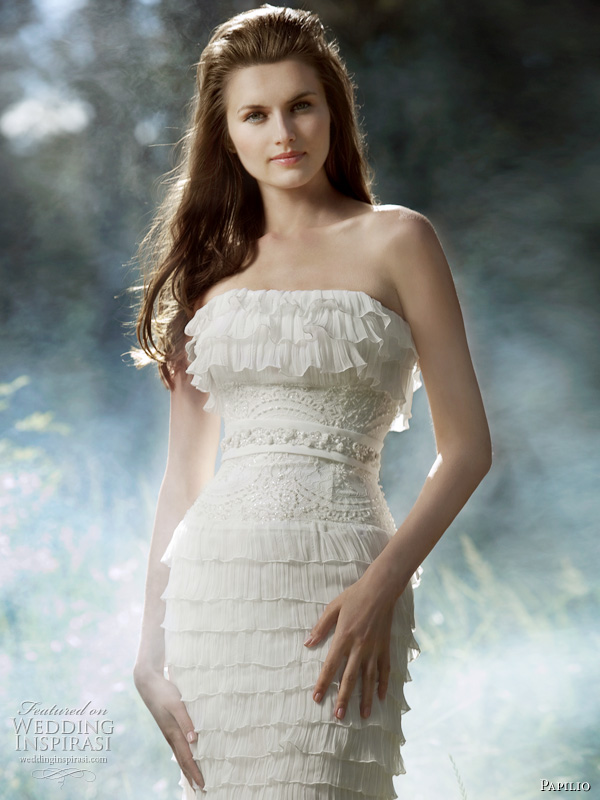 2011 Papilio wedding dress - Surprise bridal gown, strapless with multi tier ruffles