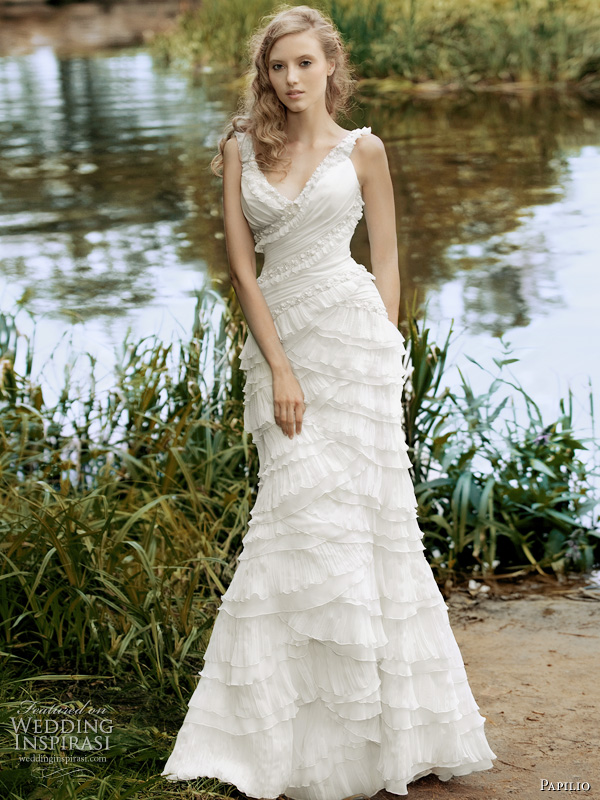 Papilio 2011 romantic wedding dresses collection, Forest Dreams - Opening ruffle tier gown with straps