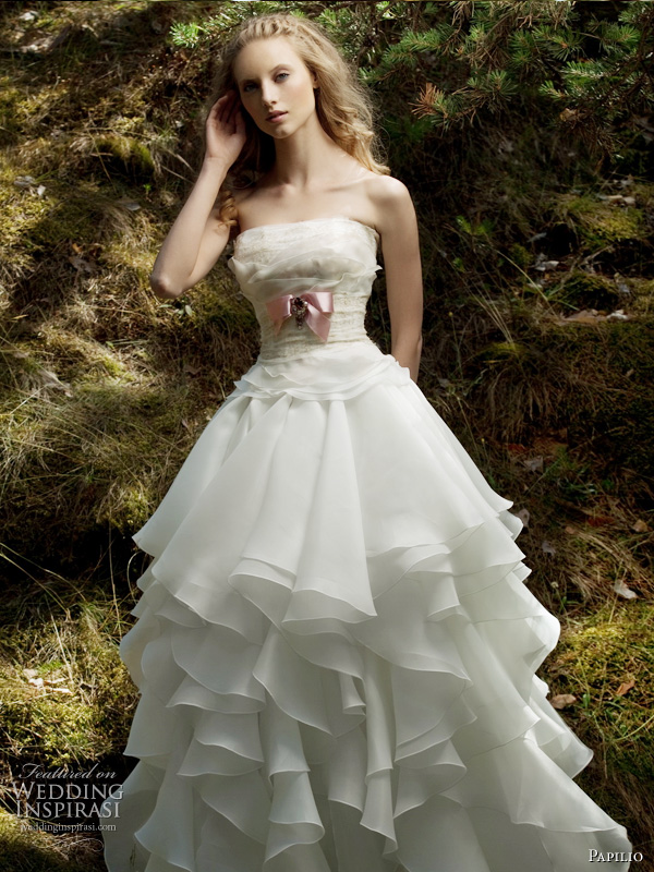 Forest Dreams wedding dress from 2011 Papilio bridal collection, Russia - Wave strapless gown with large flounces on skirt