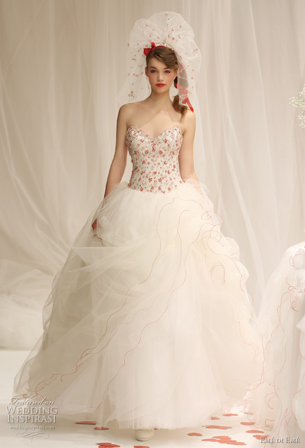 2011 red and white wedding gown by Emé di Emé Italy bridal collection