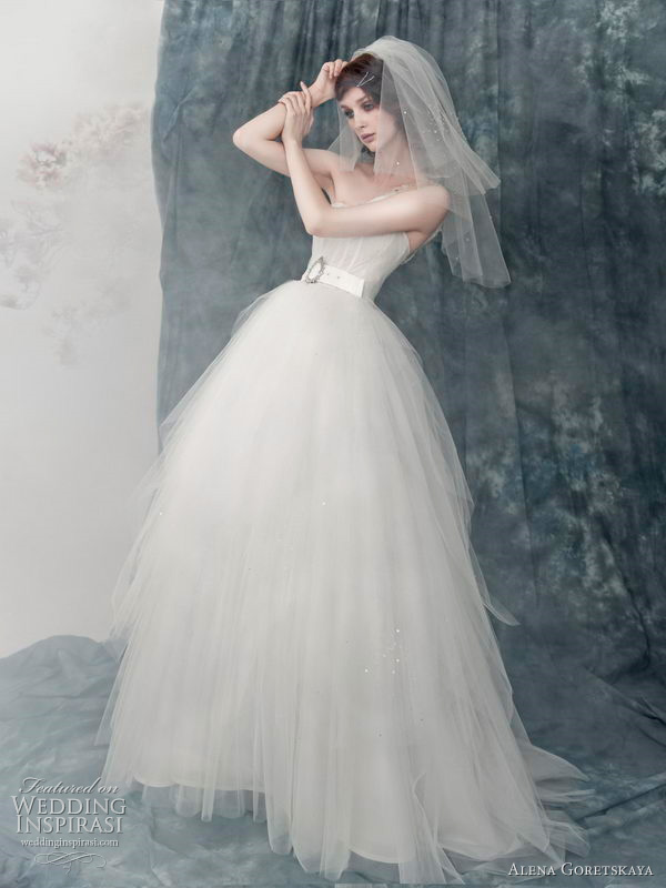 Alena Goretskaya 2011 russian wedding gown collection -  Aurina English tulle dress, crystal adorned belt