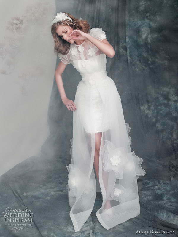 Alena Goretskaya 2011 collection - Astrid short sleeve bridal coat over strapless mini dress