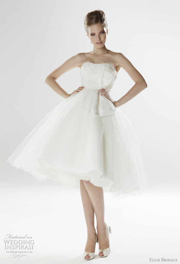 2011 knee-length wedding dress from Ellis Bridals UK London Collection - 50's style strapless tulle gown with embellished taffeta bow and crystal button back