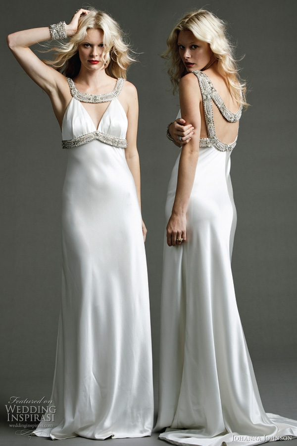 Johanna Johnson wedding dress 2011 Templar collection -  Ormond - ivory heavy silk hand beaded neckpiece, back and bustline with A-line beaded gown and full train, modified American armhole, cutout detail at bust